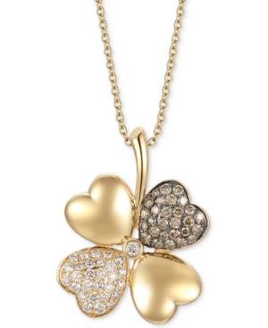 "Diamond Flower 18"" Pendant Necklace (1-1/5 ct. t.w.) in 14k Gold"
