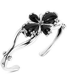 Black Agate Flower Cuff Bracelet in Sterling Silver