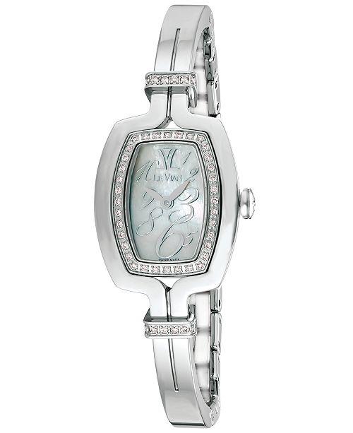 Le Vian Women's Swiss Diamond (1/4 ct. t.w.) Stainless Steel Bangle Bracelet Watch 25.7x20.4mm