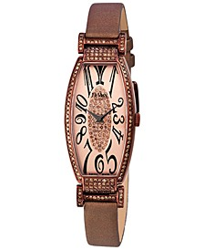 Women's Swiss Diamond (1 3/8 ct. t.w.) Brown Leather Strap Watch 22mm