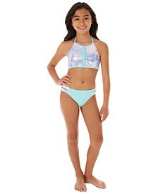 Big Girls 2-Pc. Mermaid-Print Bikini Swim Suit