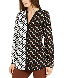 Contrast-Print Split-Neck Top, Created For Macy's