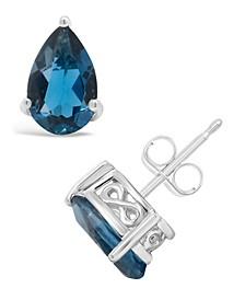 Pear-shape Gemstone Stud Earrings in Sterling Silver