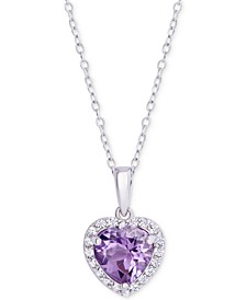 "Amethyst (1-1/2 ct. t.w.) & Cubic Zirconia 18"" Heart Pendant Necklace in Sterling Silver"