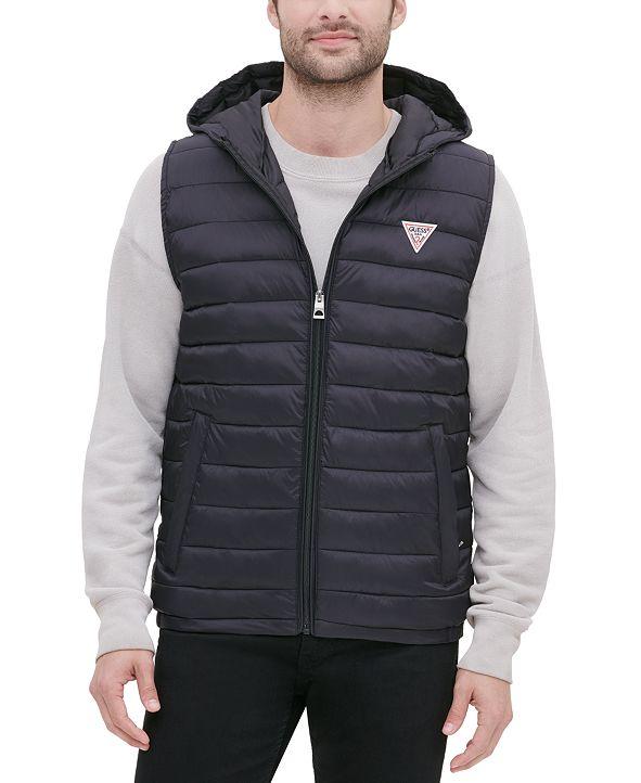GUESS Men's Hooded Puffer Vest