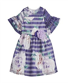 Little Girls London Floral Shadow Stripe Bell Sleeve Dress