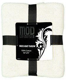 """Classic Throw Collection Cotton Moss Knit, 50"""" X 70"""""""