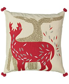 "Christmas Collection Gold Beads Reindeer Embroidery Pillow, 18"" X 18"""