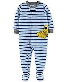 Baby Boys 1-Pc. Bulldozer Footie Pajama