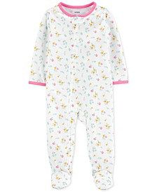 Baby Girls 1-Pc. Floral-Print Footie Pajama