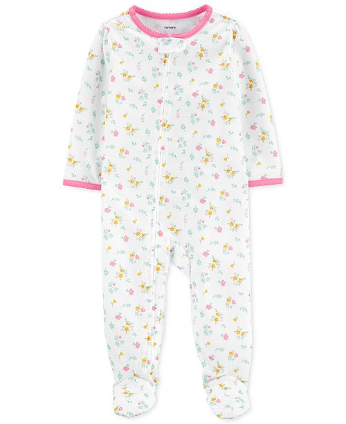 Carter's Baby Girls 1-Pc. Floral-Print Footie Pajama