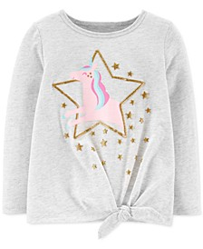 Toddler Girls Glitter Unicorn-Print Tie-Front Cotton T-Shirt