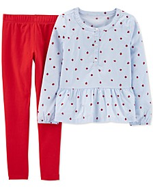 Little & Big Girls 2-Pc. Ladybug-Print Peplum Top & Leggings Set