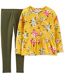 Little & Big Girls 2-Pc. Floral-Print Sateen Top & Leggings Set