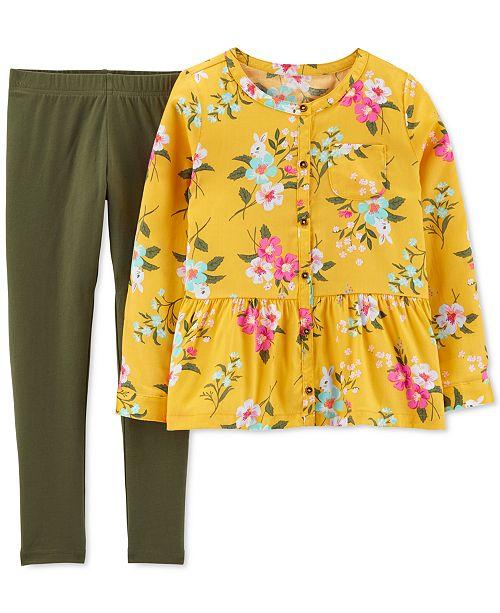 Carter's Little & Big Girls 2-Pc. Floral-Print Sateen Top & Leggings Set