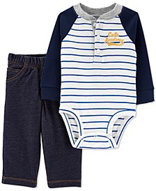 Baby Boys 2-Pc. Cotton Henley Bodysuit & French Terry Pants Set