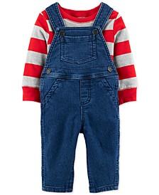 Baby Boys 2-Pc. Striped T-Shirt & Denim Overalls Set