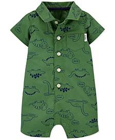 Baby Boys Dinosaur-Print Button-Front Cotton Romper