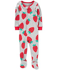 Baby Girls Cotton 1-Pc. Strawberry-Print Footie Pajama