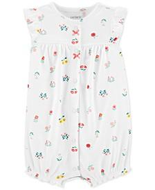 Baby Girls Floral-Print Cotton Romper