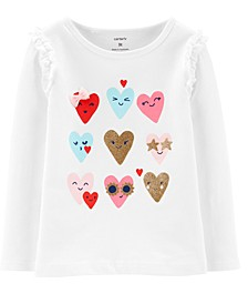 Toddler Girls Cotton Glitter Hearts T-Shirt
