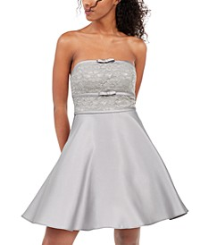 Juniors' Strapless Lace Bow Dress