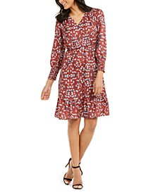 Petite Printed Smocked-Sleeve Dress