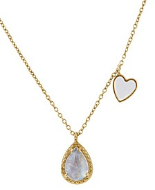 Pear Cut Moonstone, Diamond, and Enamel Heart Necklace