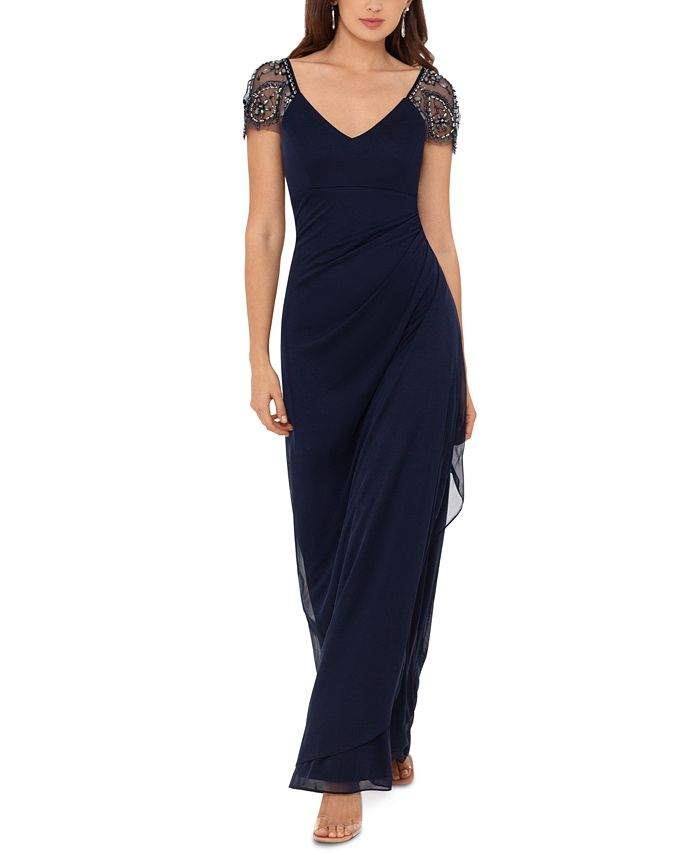 XSCAPE - Beaded Cap-Sleeve Gown