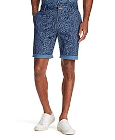 Men's Modern-Fit Stretch Zebra Print Shorts