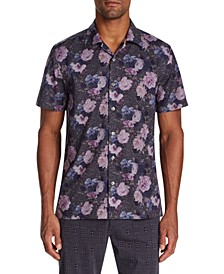 Men's Slim-Fit Performance Stretch Floral Camp Shirt