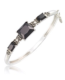 Marcasite and Faceted Onyx Bangle in Sterling Silver