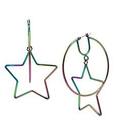 """Large Rainbow Star Orbital Hoop Earrings 2-1/2"""""""