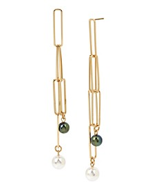 Mixed Pearl Rectangle Link Linear Earrings