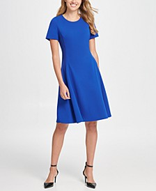 Short Sleeve Fit & Flare Crepe Dress