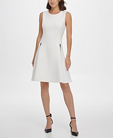 Faux-Leather Zip Pocket Fit & Flare Dress