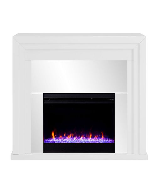 Southern Enterprises Morrigan Mirrored Color Changing Fireplace