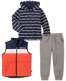 Toddler Boys 3-Pc. Colorblocked Puffer Vest, Hooded Logo-Stripe T-Shirt & Fleece Sweatpants Set