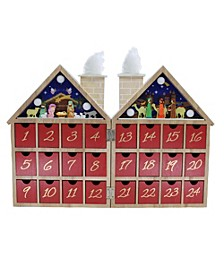 11.81-Inch Battery-Operated Wooden LED Nativity Advent Calendar