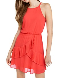 Juniors' Ruffled Chiffon Blouson Dress