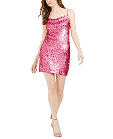 Cowlneck Sequin Mini Dress