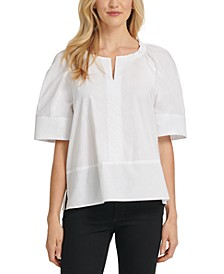 Cotton Elbow-Sleeve Top