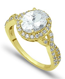 Cubic Zirconia Oval Center Stone Ring in 18K Gold Plate