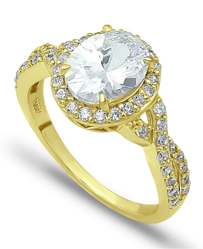 Macy's - Cubic Zirconia Oval Center Stone Ring in 18K Gold Plate