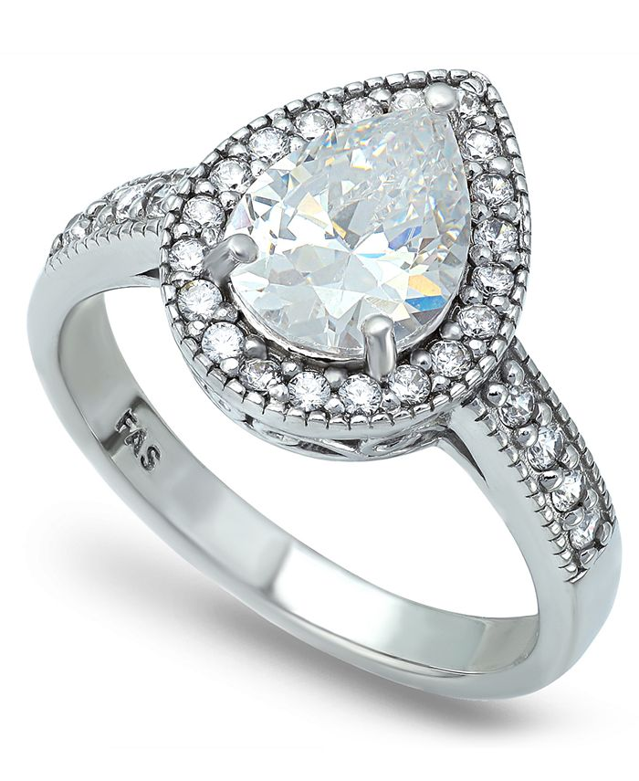 Macy's - Cubic Zirconia Pear Halo Ring in Fine Silver Plate