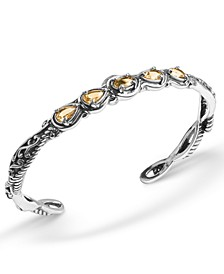 Yellow-Orange Citrine  (1-3/4 ct. t.w.) Five Stone Cuff Bracelet in Sterling Silver