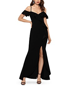 Cold-Shoulder Ruffled Scuba Gown