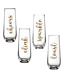 Set of 4 Stemless Champagne Flutes Celebration Sayings