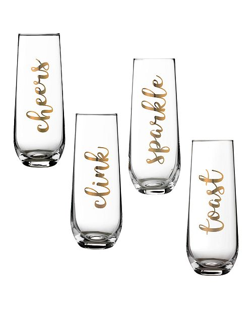 Lillian Rose Set of 4 Stemless Champagne Flutes Celebration Sayings