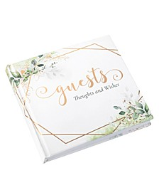 Botanical and Geometric Guest Book with Gold-Tone Accents